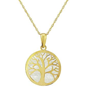 Mark Milton Mother of Pearl Tree of Life Pendant - Yellow Gold
