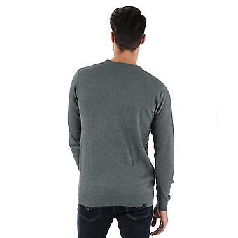 Mens Bench Cotton Fine Gauge Crew Knit In Grey Marl- Ribbed Cuffs, Collar And