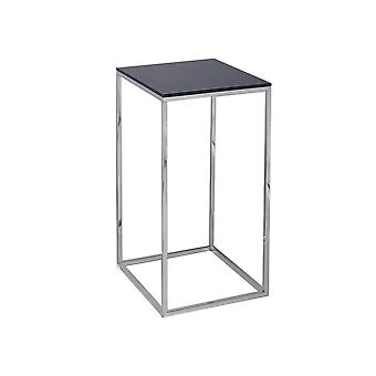 Gillmore Space Black Glass e Silver Metal Contemporary Square Tavolo Lampada
