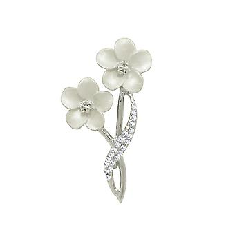 Eternal Collection Anemone White Enamel Clear Crystal Silver Tone Brooch