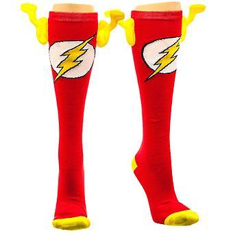 DC Comics Flash Knie hohe Socken mit Flügeln - EINE Größe