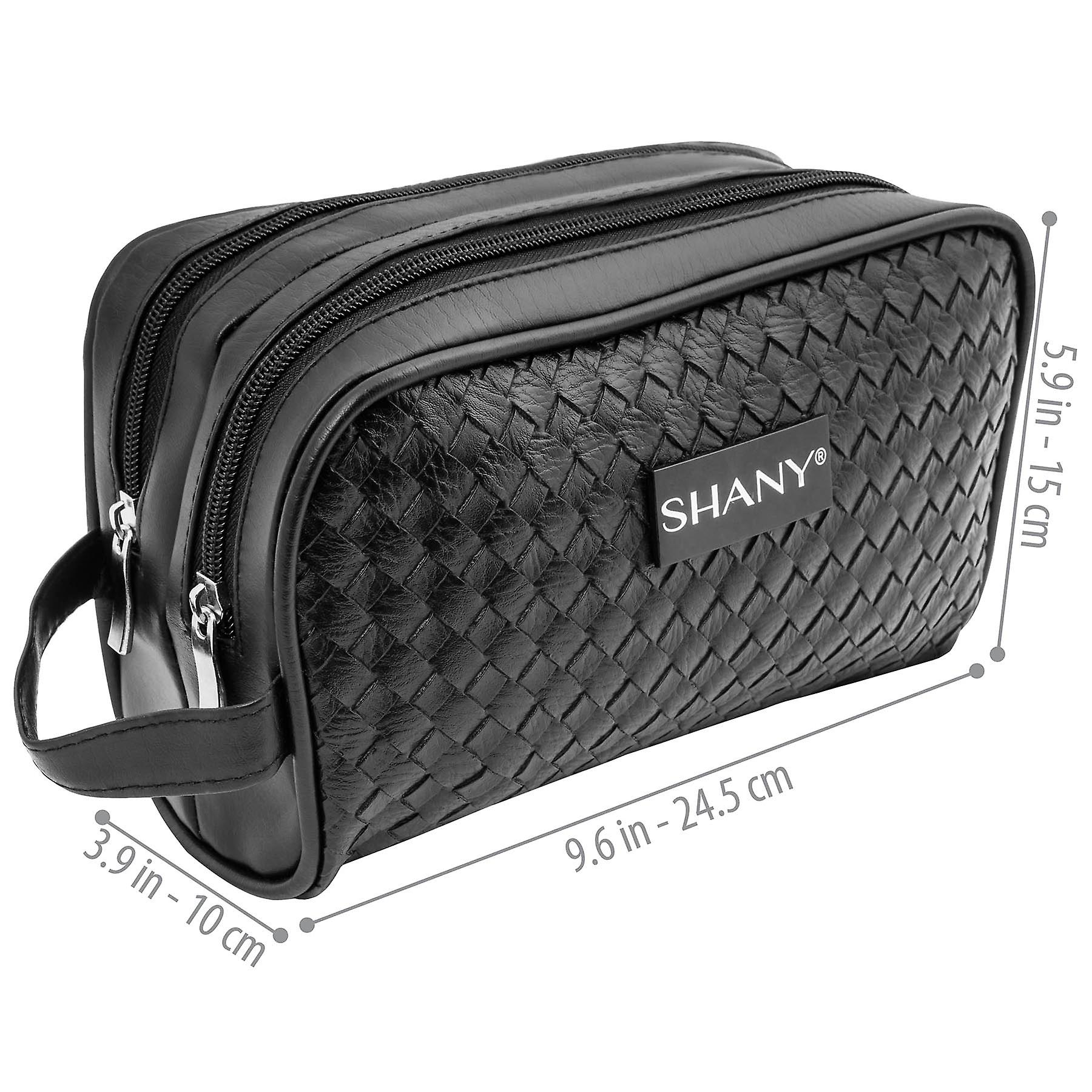 SHANY Woven Double-Pocket Toiletry Handbag – Faux Leather Portable Traveling Organizer with Two Zippered Compartments – Black
