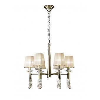 Mantra Tiffany Pendant 6+6 Light E14+G9, Antique Brass With Soft Bronze Shades & Clear Crystal