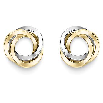 Jewelco London 9ct 2-Colour Gold Trilogy Knot Stud Earrings