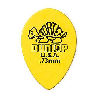 6 Jim Dunlop Tortex Guitar Picks/Plectrums - Yellow Teardrop 0.73mm