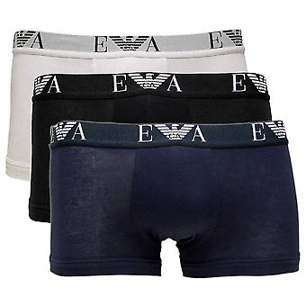 Emporio Armani Stretch Cotton 3-Pack Trunk, White / Black / Marine, X-Large