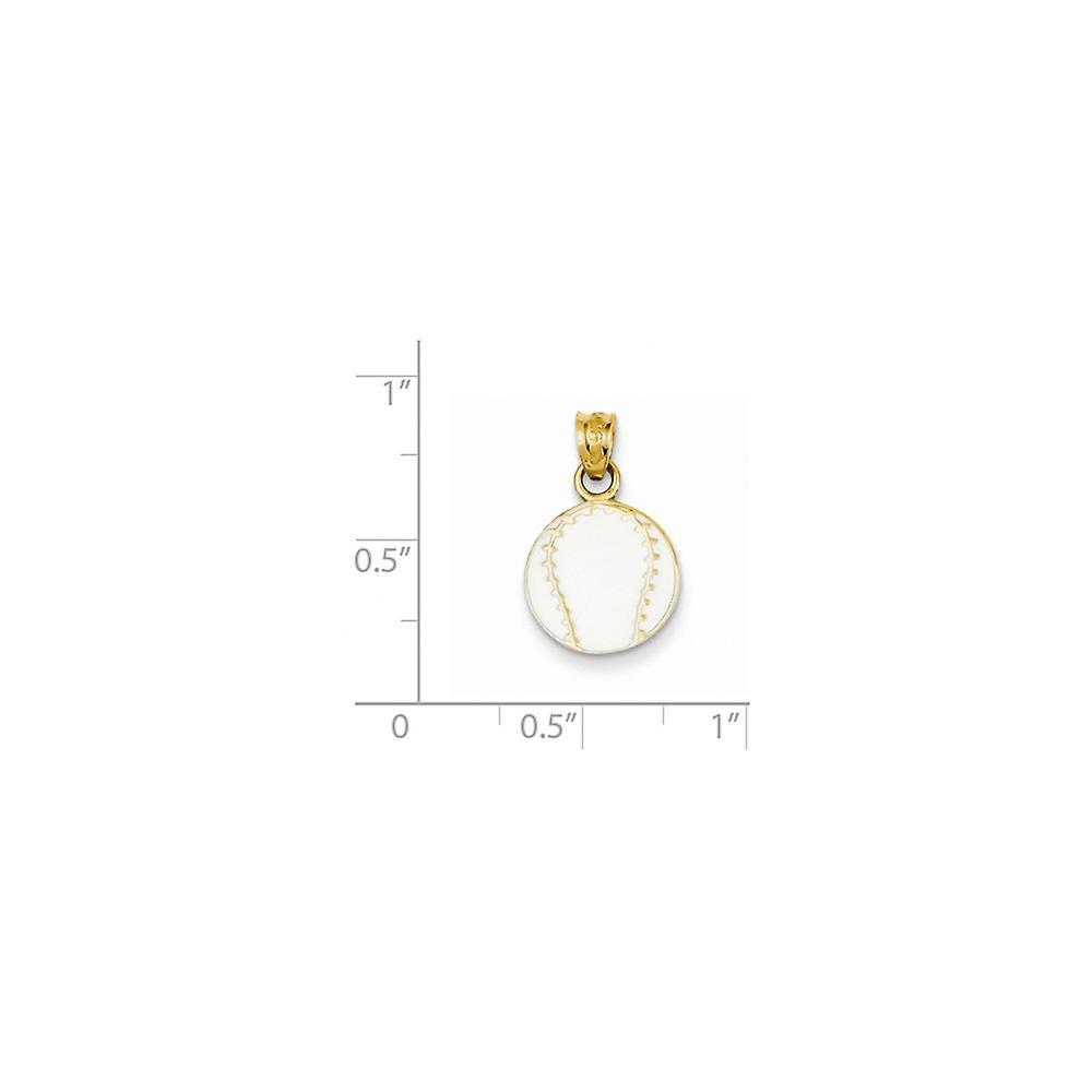 14 k Gelbgold strukturiert zurück emaillierte Baseball Anhänger Halskette Maßnahmen 19.9x11.9mm Schmuck Geschenke für Frauen