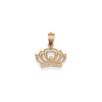 14k ökade guld polerad krona hänge -.6 gram