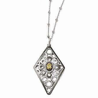 925 Sterling Silver Fancy Lobster Closure and Ruthenium Citrine Necklace With 2inch Ext. Jewelry Gifts for Women
