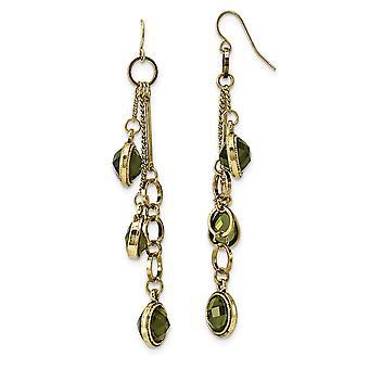 Gancho de pastor de latón tono verde cristal largo gota colgante pendientes joyería regalos para las mujeres