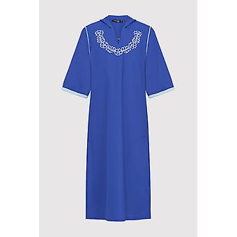 Djellaba ayat Girl ' s broderade beskärs ärm Hooded klänning i blått (2-12yrs)