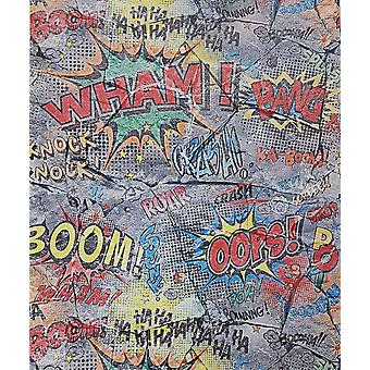 P+S Ka Boom Graffiti Brick Wallpaper Grey Stone Slate Typography Teen Kids