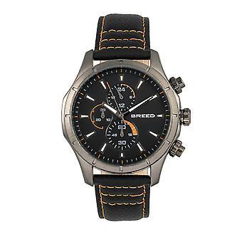 Föder upp Lacroix Chronograph läder-Band Watch - Gunmetal/Orange