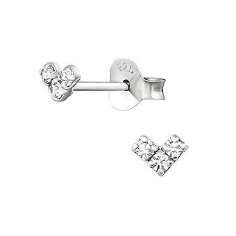 Μίνι καρδιά - 925 ασημένια στηρίγματα αυτιών κρυστάλλου - W36203x