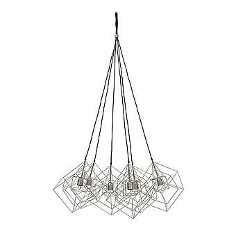 Lys & levende hængende pendel lampe 6L 25x25x26cm Kubinka glas Silvergrey