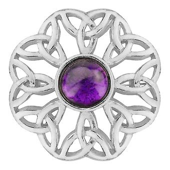 Celtic Eternity Knotwork Pin Clasp Garment Clothes Fibulae Brooch - Amethyst Colour Stone