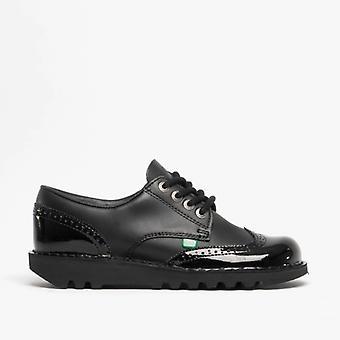 Kickers Kick Lo Brogue Ladies Patent Leather Shoes Black