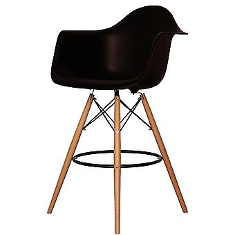Charles Eames Style Black Plastic Bar Stool With Arms
