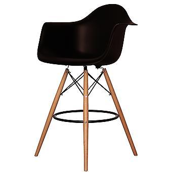 Charles Eames Style schwarz Kunststoff Bar Hocker mit Armen