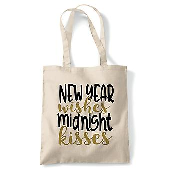 NY Wishes Midnight Kisses, Tote - Reusable Shopping Canvas Bag Gift