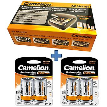 Camelion battery charger CM-9388 + 4x battery type D (HR 20), for AAA,AA,C,D,9V
