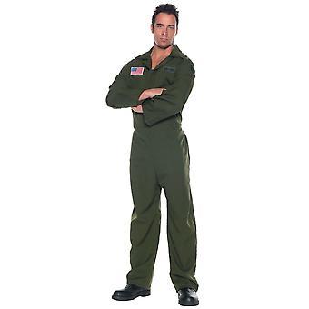 Air Force Jumpsuit Pilot Army Flight Aviator 1980s Top Gun Military Mens Costume
