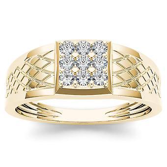 Igi المعتمدة 10k الذهب الأصفر 0.33ct الماس الرجال & apos;ق عصابة عنق الزفاف العنقودية خاتم