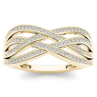 Igi certifierad 10k gult guld 0,07 ct diamant kors och tvär mode förlovningsring