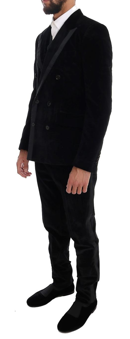 Black Velvet Slim Double Breasted Suit With Silky Border