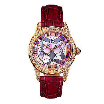 Empress Augusta Automatic Mosaic Mother-of-Pearl Leather-Band Watch - Rose Gold/Fuchsia