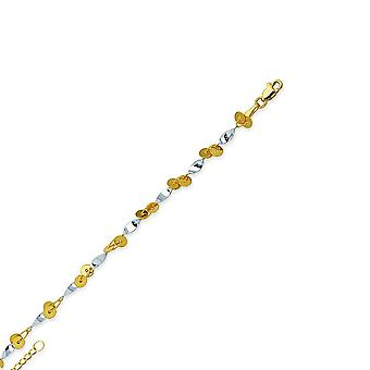 14k Yellow and White Gold White And Yellow Adjustable Circle Twists 10 Inch Jewelry Gifts for Women