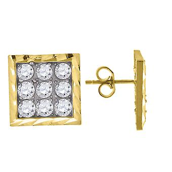 10k Yellow Gold Mens CZ Cubic Zirconia Simulated Diamond Cubic Zirconia Square Stud Earrings Measures 13.2x13.20mm Wide