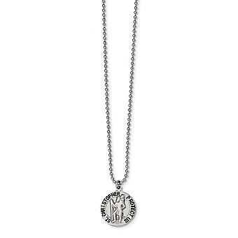 Rustfrit stål graveret børstet og emaljeret St. Christopher Medal halskæde 22 tommer smykker Gaver til kvinder