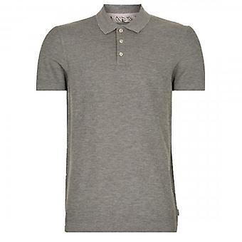 Ted Baker GForce Short Sleeve Ribstart Textured Polo Shirt Grey