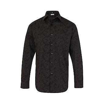 JSS Floral Preto Regular Fit 100% Camisa de Algodão