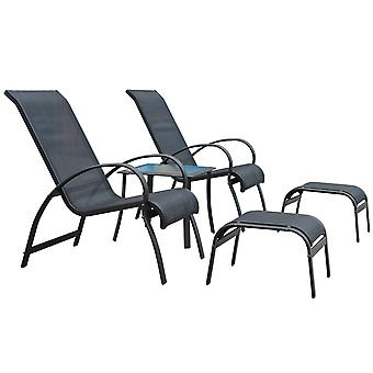 Outsunny Garden Patio Outdoor Lounger 5 pcs Set reclined Chair Coffee Table Footstools Aluminium Frame Black Textilene Fabric