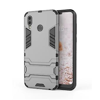 HATOLY iPhone XR - Robotic Armor Case Cover Cas TPU Case Gray + Kickstand