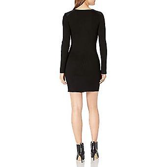 A. Byer Juniors Long Sleeve Crew Neck Sweater Dress, Black, M