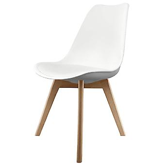 Fusion Living Eiffel Inspired White Plastic Dining Chair With Squared Light Wood Legs