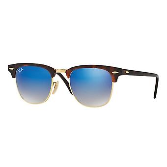 راي بان Clubmaster RB3016 990/7Q لامعة الأحمر هافانا / المرآة الزرقاء التدرج النظارات الشمسية
