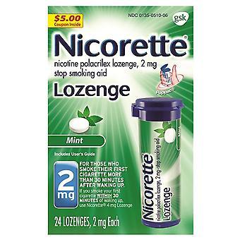 Nicorette nicotine lozenge, 2 mg, mint, 24 ea