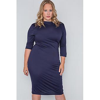 Plus size navy basic bodycon 3/4 mouw jurk