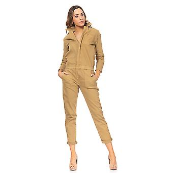 Cowboy jumpsuit with zip fly, elastic waist and pockets