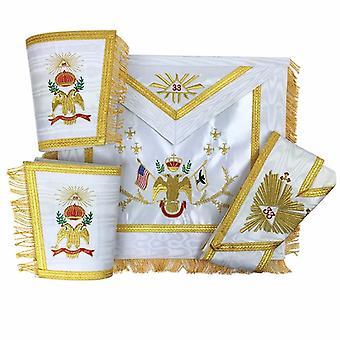 Masońskie róża croix 33 stopni jedwabny fartuch, rękawice i zestaw kołnierzyków - wszystkie kraje flagi