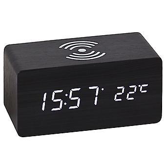 Atlanta 1129/7 Tischwecker WIRELESS CHARGING schwarz digital Temperatur Datum