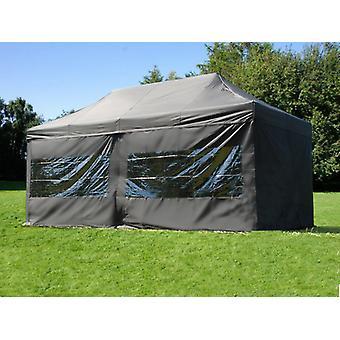 Vouwtent/Easy up tent FleXtents PRO 3x6m Zwart, inkl. 6 zijwanden