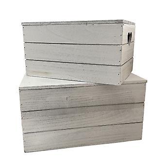 Set of 2 Vintage Effect Heart Cut Handle Wooden Lidded Storage Box
