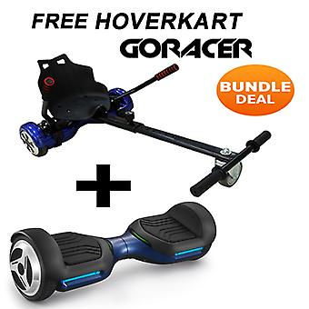NEW - G PRO Blue Segway Hoverboard with a FREE Racer Hoverkart Bundle Choose your Colour Hoverkart (Choose Colour of Racer Hoverkart: Black)