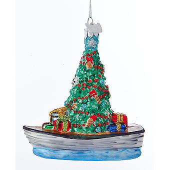 Kurt Adler Noble Gems roeiboot met versierde boom geschenken Holiday Ornament glas