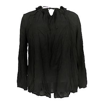 LOGO by Lori Goldstein Women's Top (XXS) Woven Crepe Blouse Black A347193